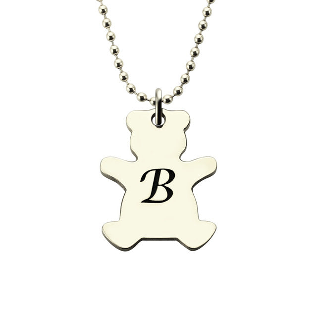 Cute Bear Initial Necklace in silver