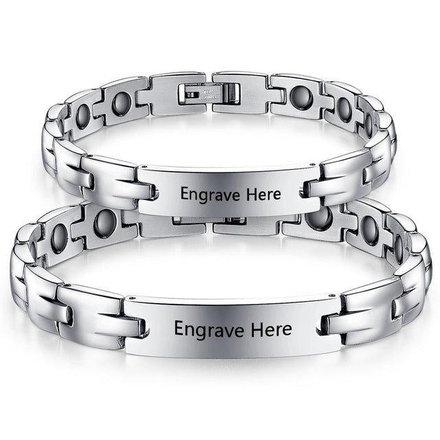 Couple's Personalized Stainless Steel Bracelets