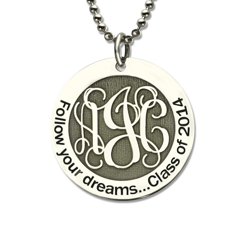Engraved Monogram Pendant Necklace
