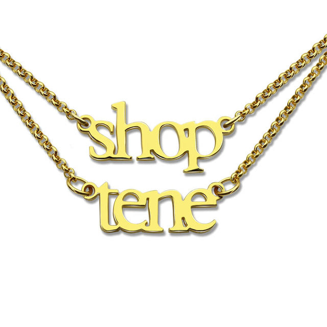 Double Name Necklace in 925 Sterling Silver with Gold Plating