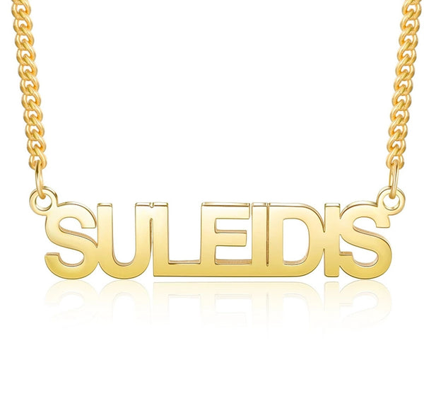 All Capital Name Necklace in 18K Gold Plating