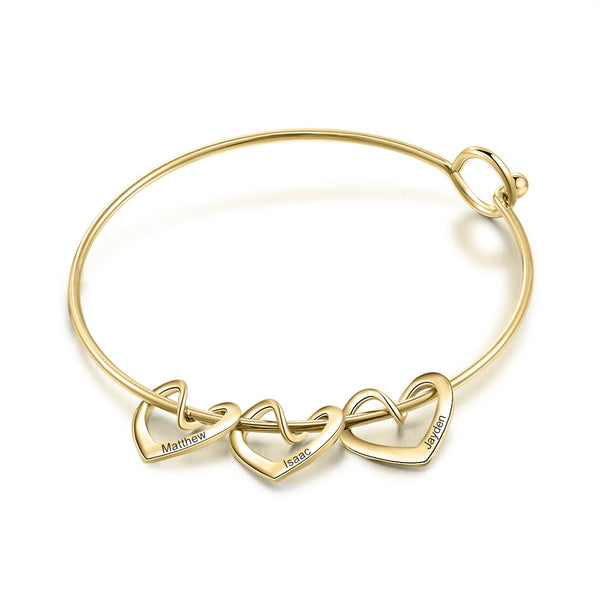 Bangle Bracelet with Personalized Heart Charms