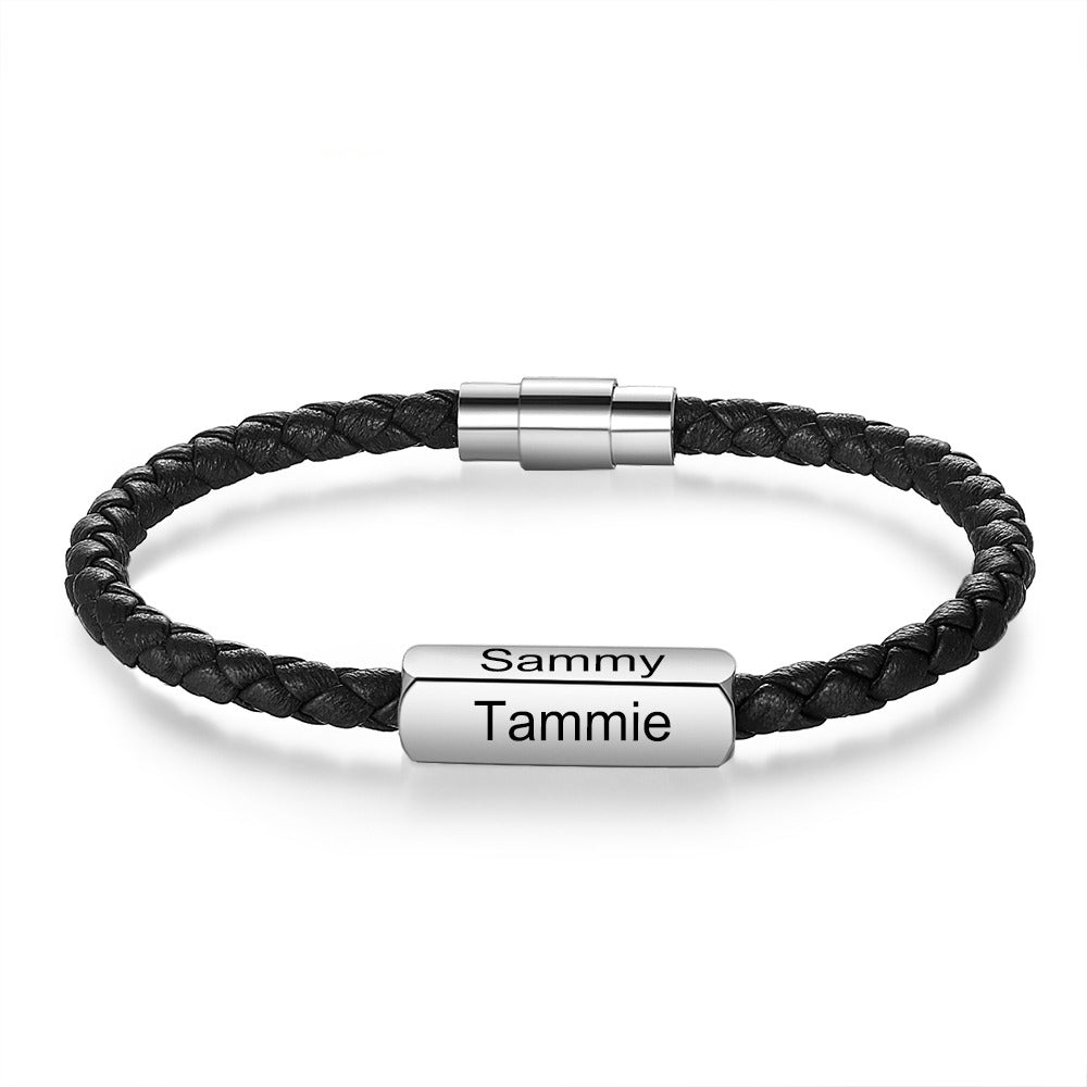 Black Braided Leather Bracelet with Customized Engraving