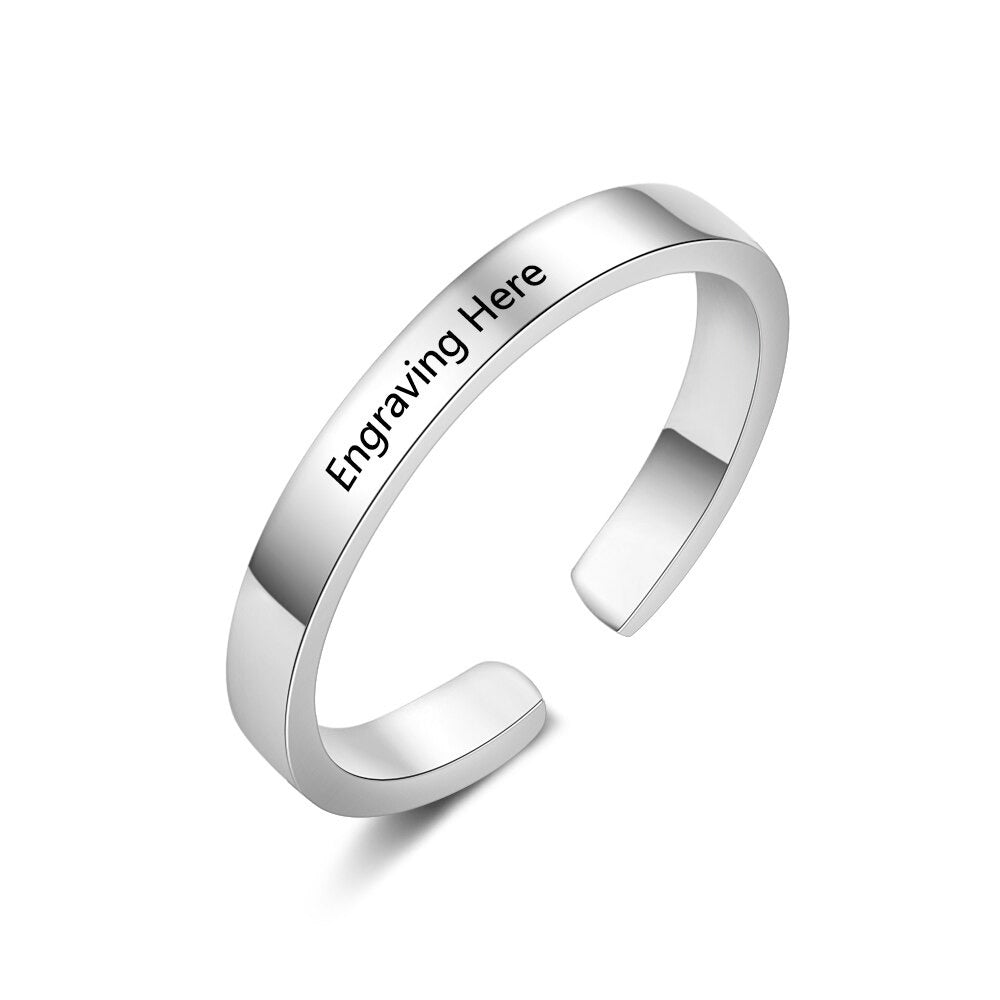 Classic Adjustable Engraved Ring
