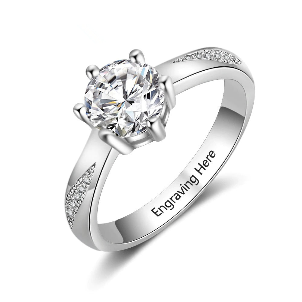 Engraved CZ Stone Promise Ring