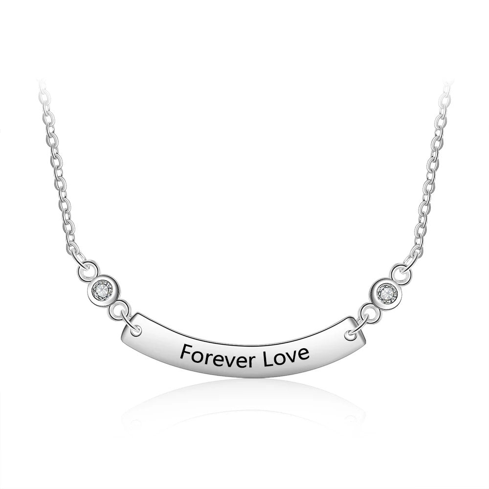 Curved Bar Necklace with Customized Engraving