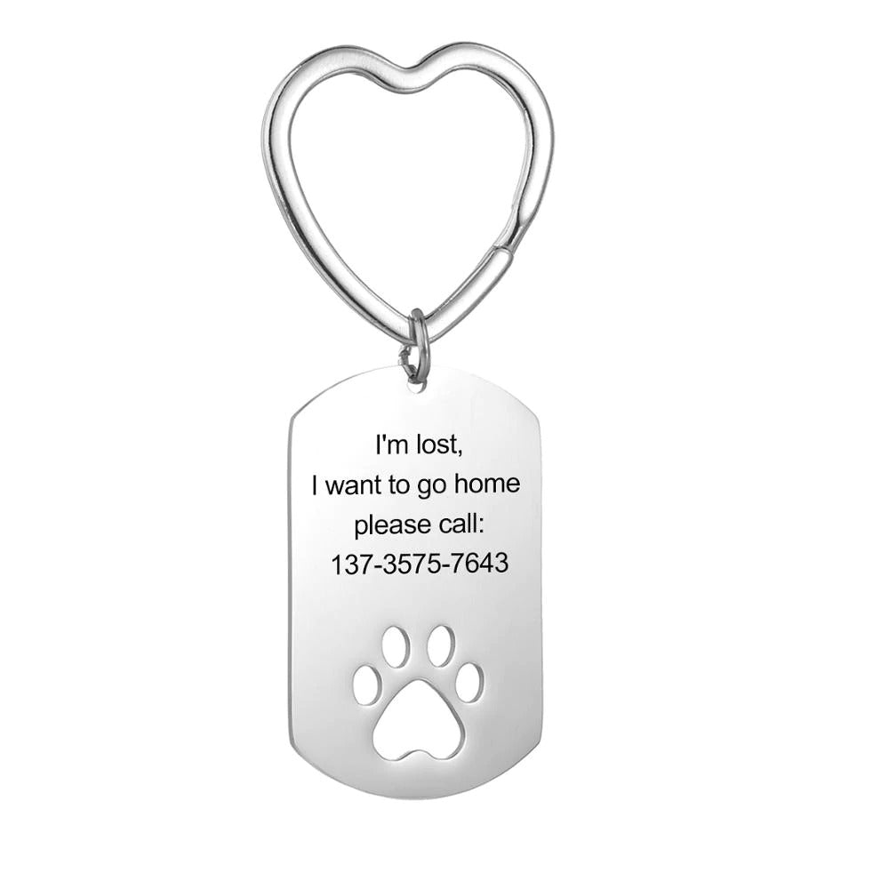 Custom Engraved Pet Paw Keychain