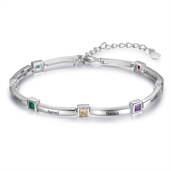 Custom Name Plate Bracelet with Birthstones