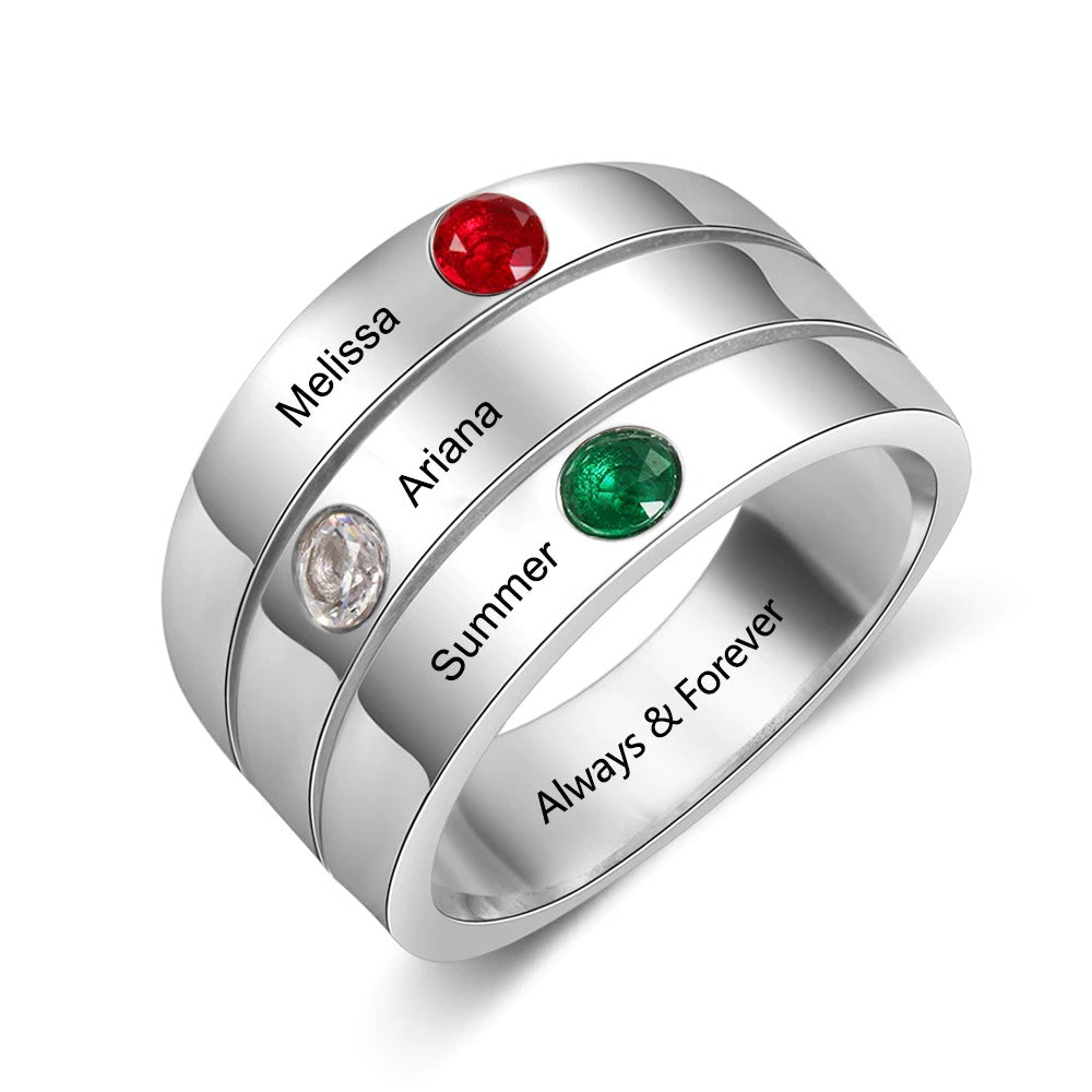 Customized 3 Name Ring for Mothers