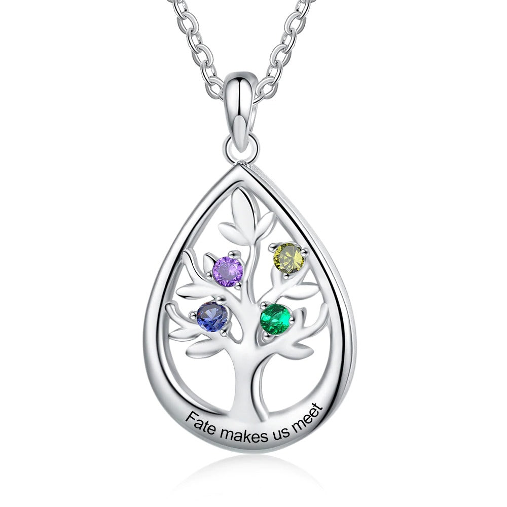 Drop Shaped Family Tree Necklace