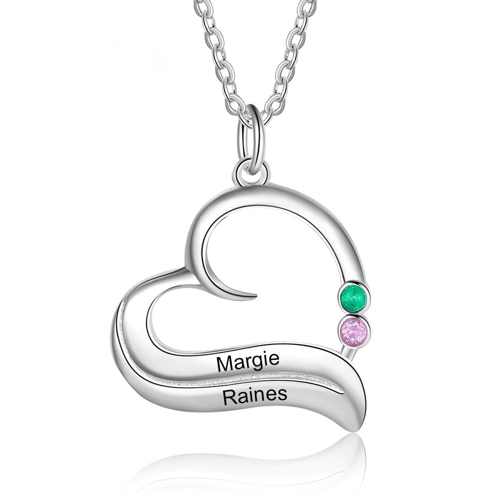 Customized Heart Necklace with Name & Stone