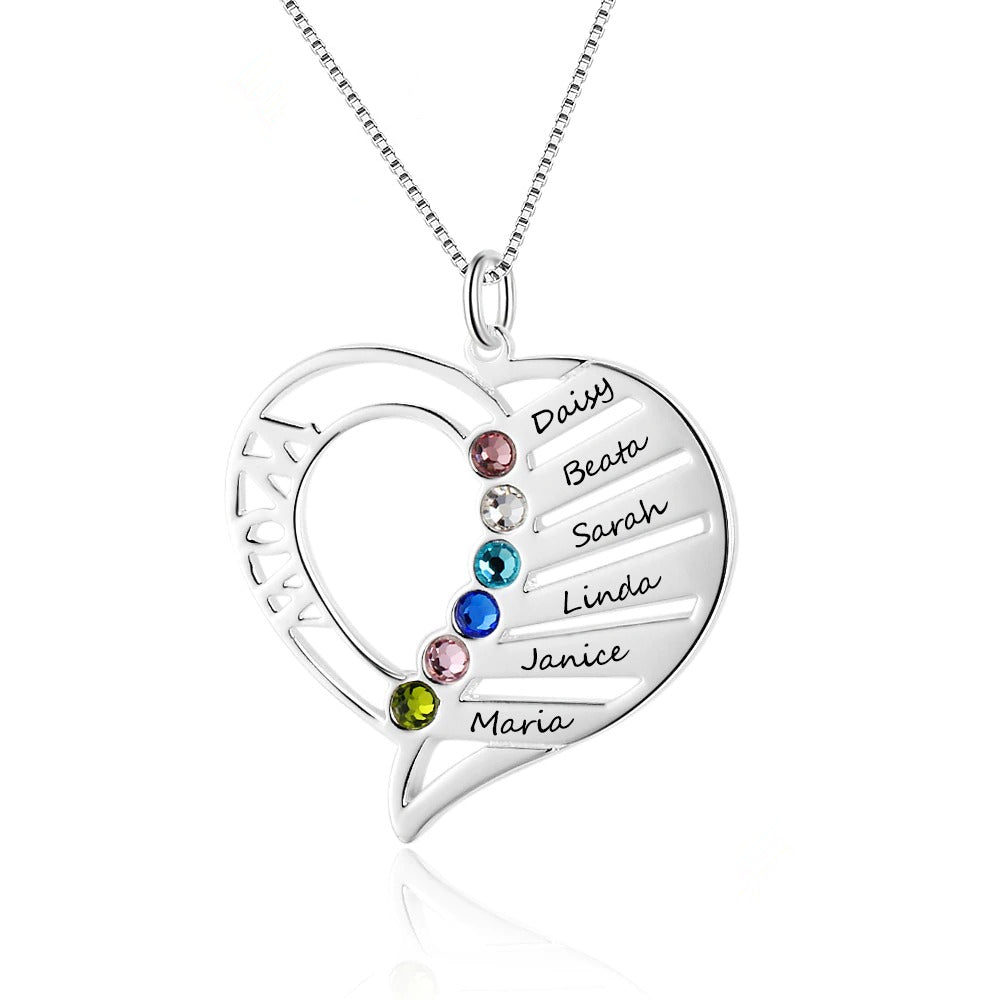 Customized Mothers Family Birthstone Necklace
