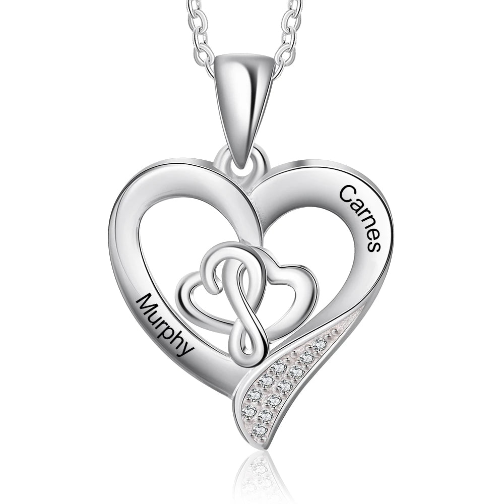 Customized Name Heart Necklace in Sterling Silver