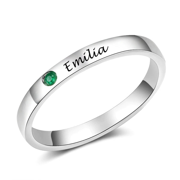 Engravable Silver Name Ring with Birthstone