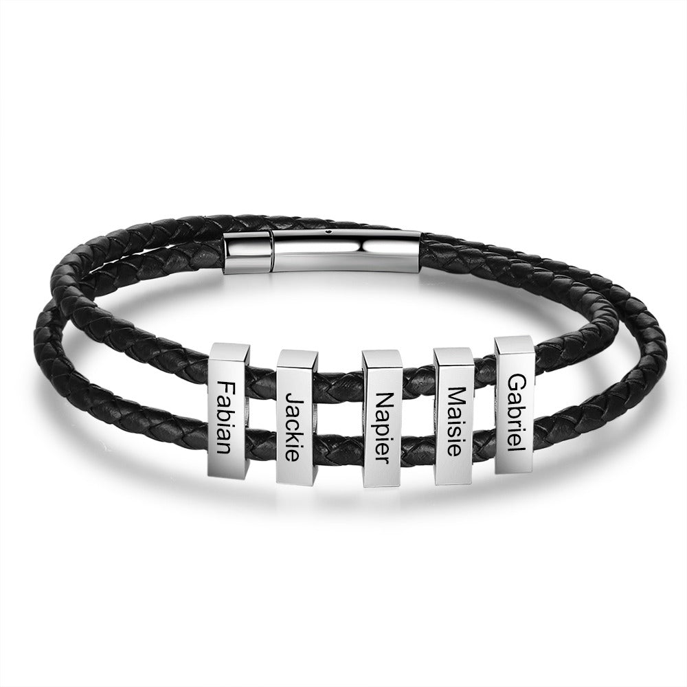 Engraved Braided Black Leather Bracelet with Custom Beads