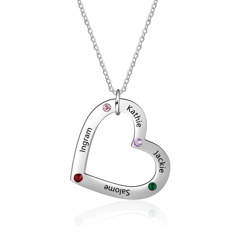 Engraved Heart Pendant Necklace with Birthstones