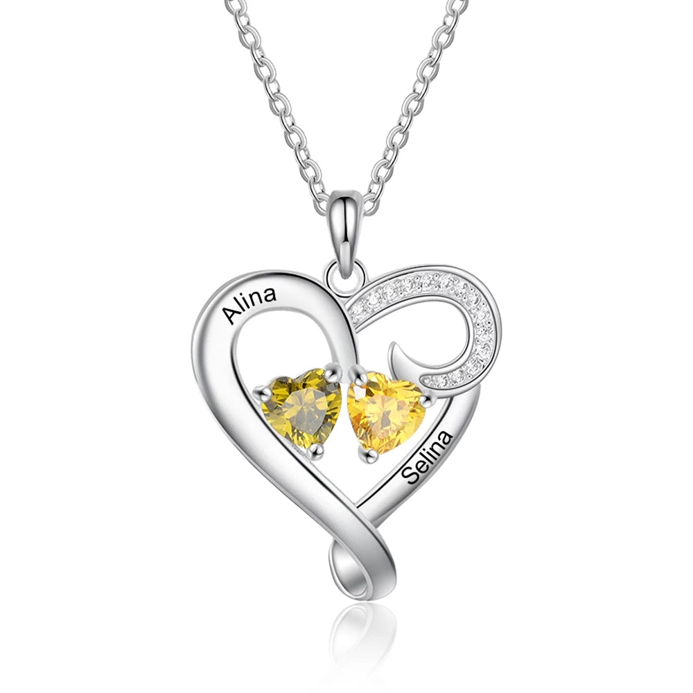 Engraved Heart Shaped Necklace with Birthstones
