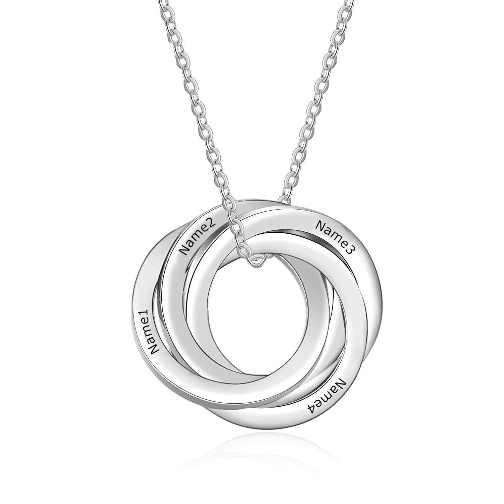 Engraved Interloacking Circles Necklace