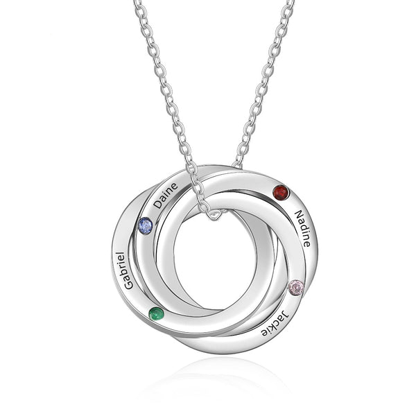 Engraved Interlocking Rings Necklace with Birthstones