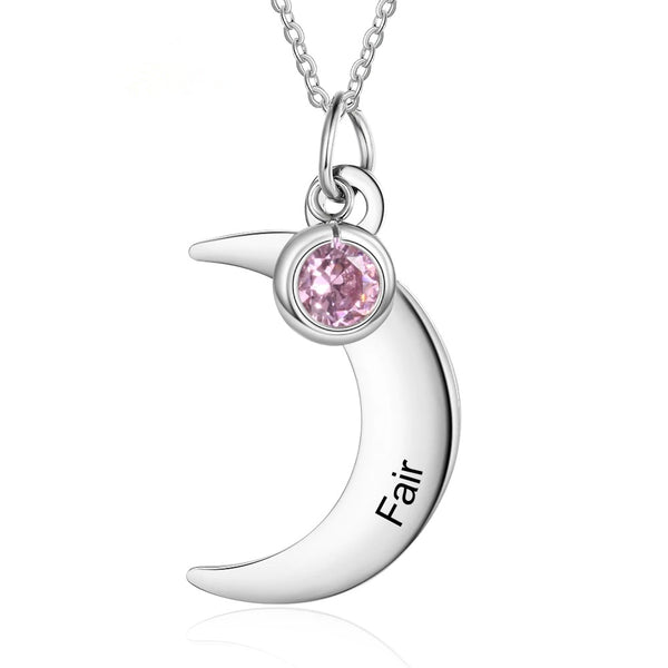 Engraved Moon Birthstone Pendant Necklace