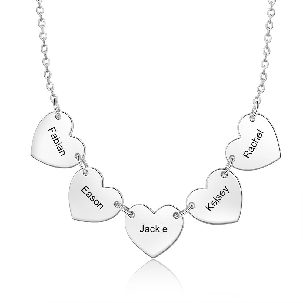 Engraved Multi Heart Pendant Necklace