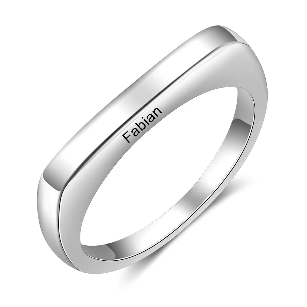 Engraved Square Ring Band in Sterling Silver