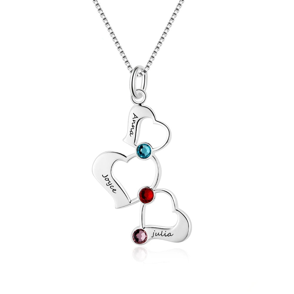 Engraved Sterling Silver Hollow Heart Necklace