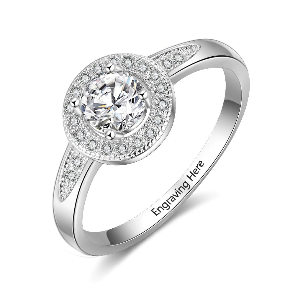 Engraved Sterling Silver Ring with CZ Stone