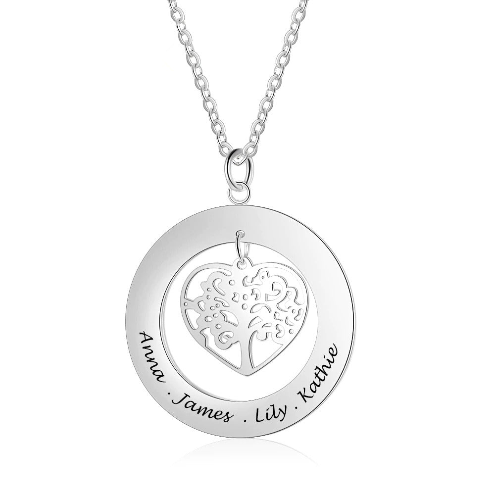 Engraved Tree of Life Necklace in Sterling Silver