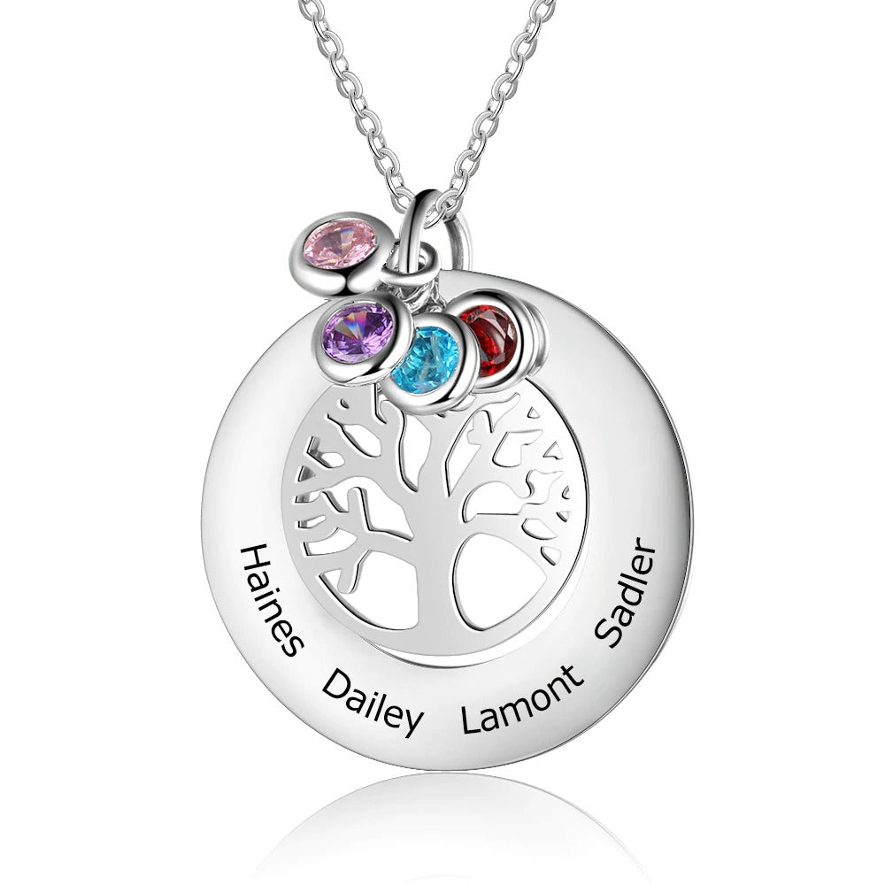 Four Names Engraved Family Tree Necklace