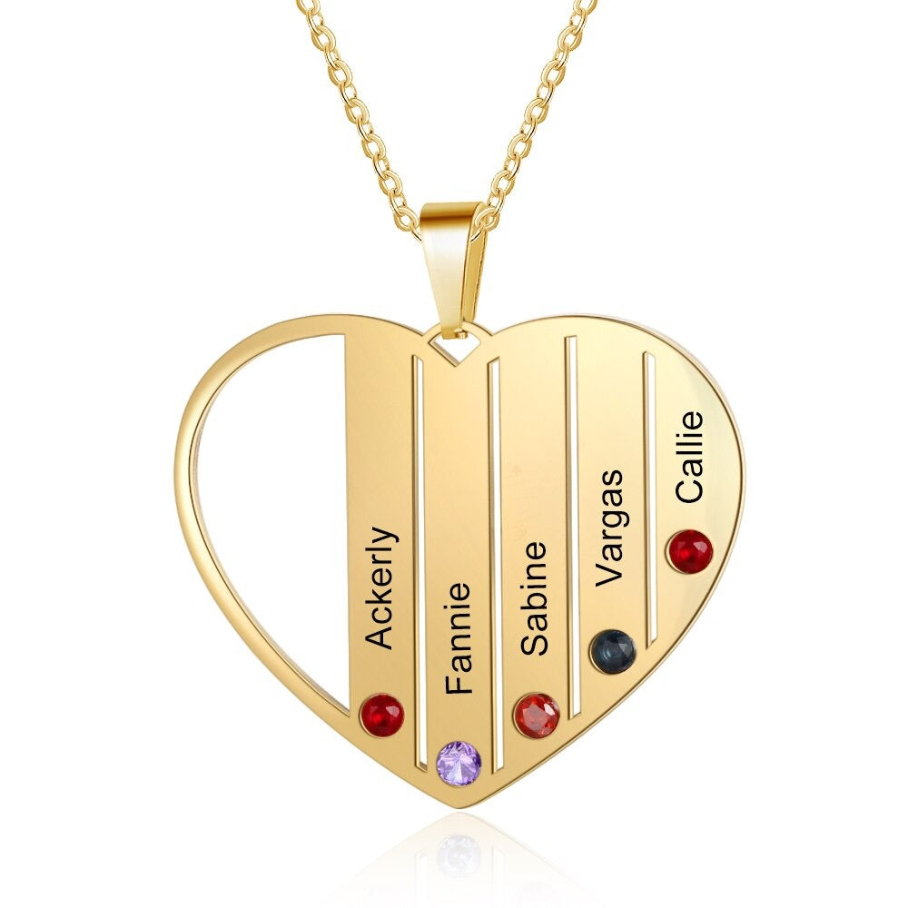 Heart Pendant Family Necklace with Birthstones