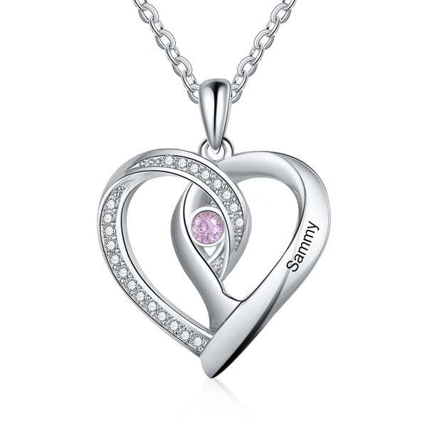 Heart Pendant Necklace with Engraved Name