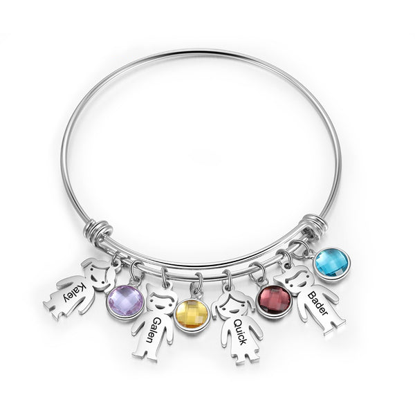 Kids and Birthstones Charm Bangle Bracelet