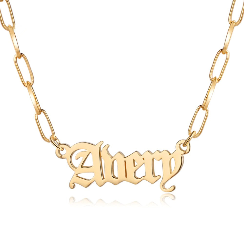 Link Chain Old English Font Name Necklace