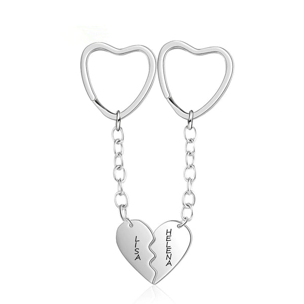 Matching Heart Keychains for Couples