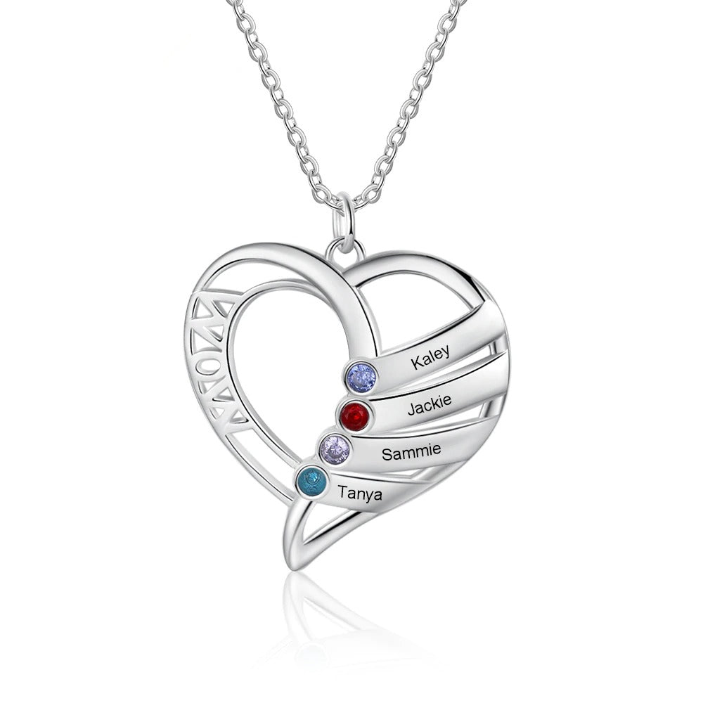Mother's Heart Necklace with Children Names