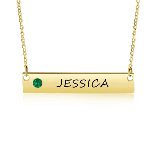 Personalized Bar Necklace with Bithstone