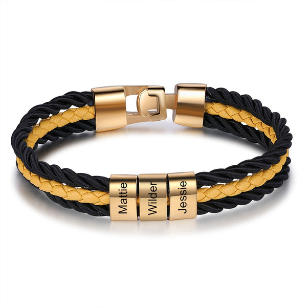 Personalized Braided Layered Leather Bracelet with Custom Beads