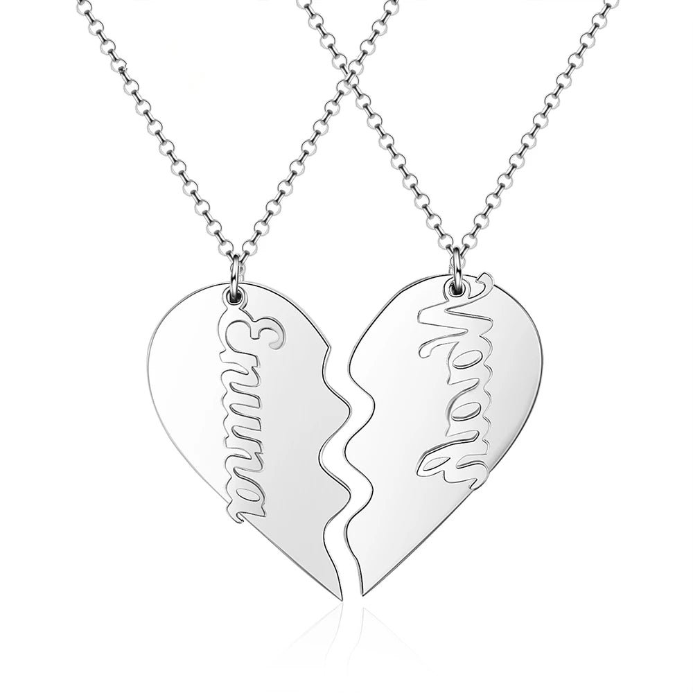 Personalized Couple Heart Necklace in Sterling Silver