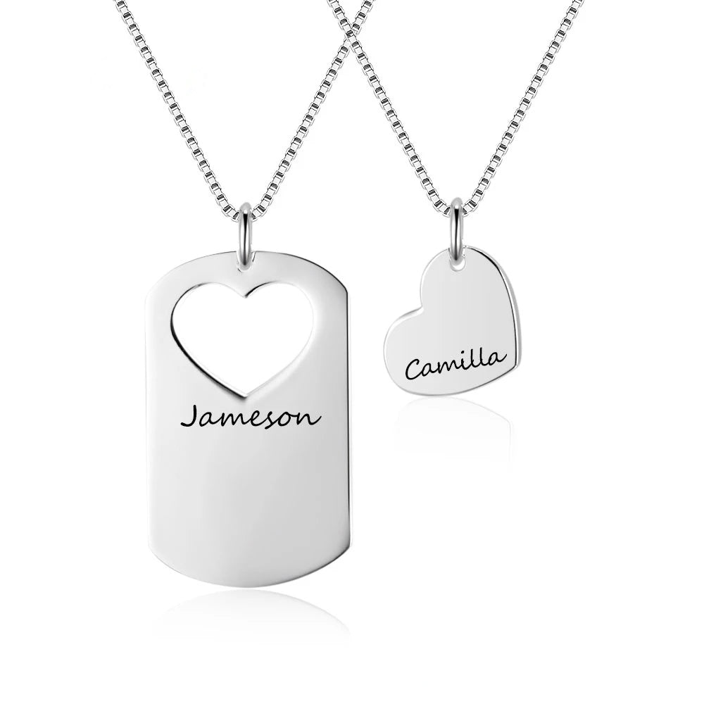 Personalized Couple Necklace Set with Engraving