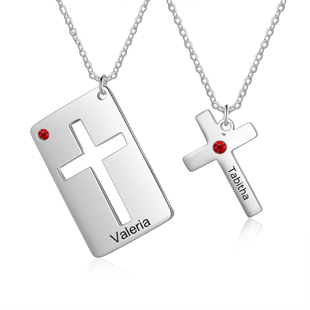 Personalized Cross Pendant Necklace for Couples