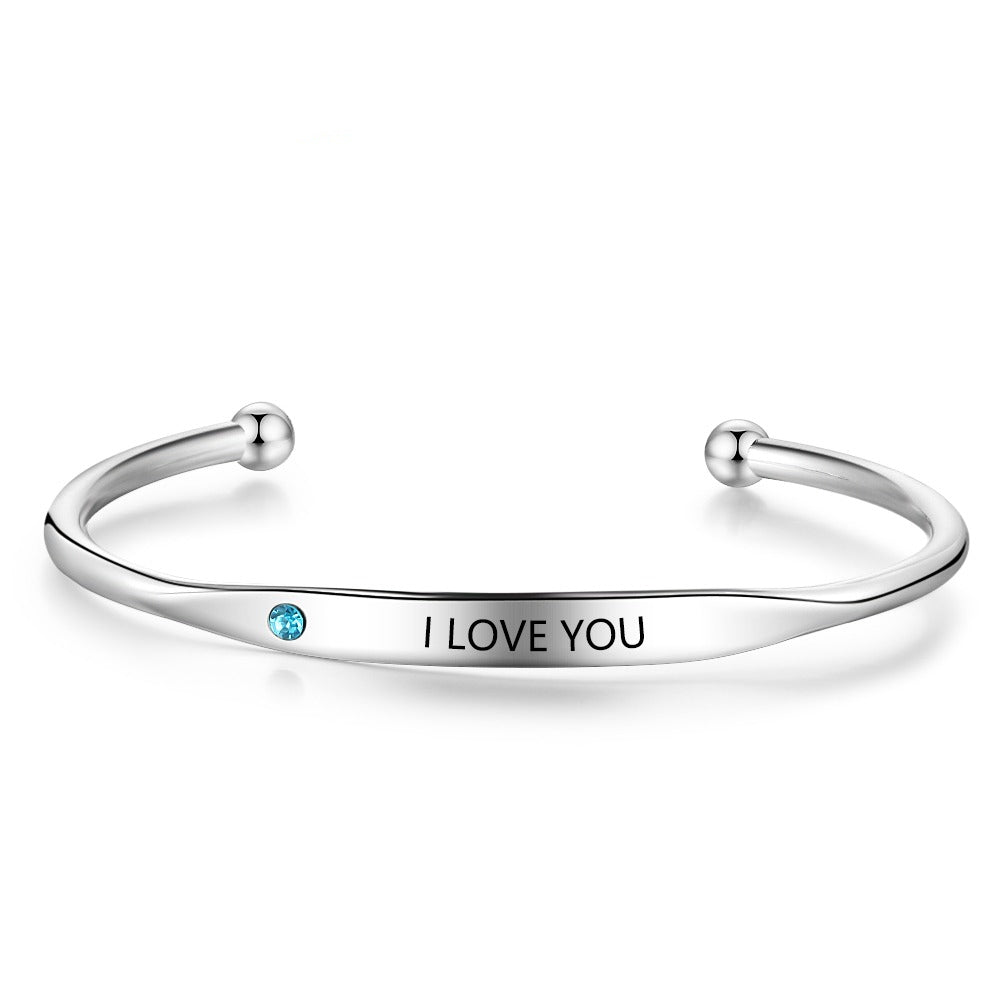 Personalized Cuff Bangle with Engraving and Birthstone