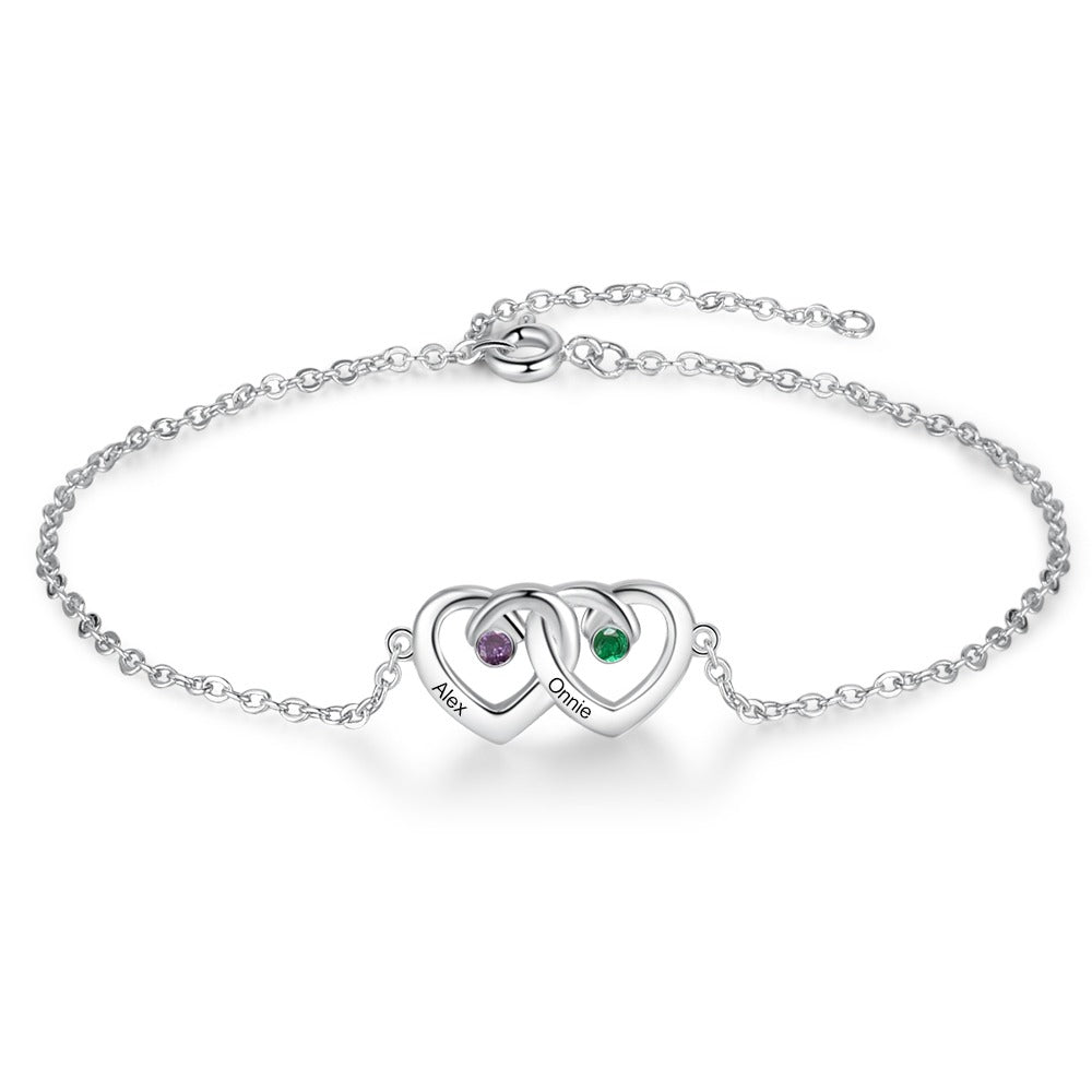 Personalized Double Heart Bracelet with Stones