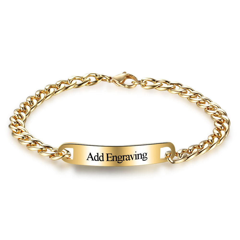 Personalized Engravable ID Bracelet with 14K Gold Plating