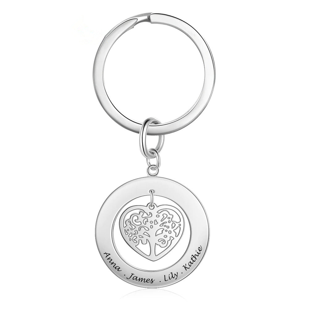 Personalized Family Tree Keychain with Names