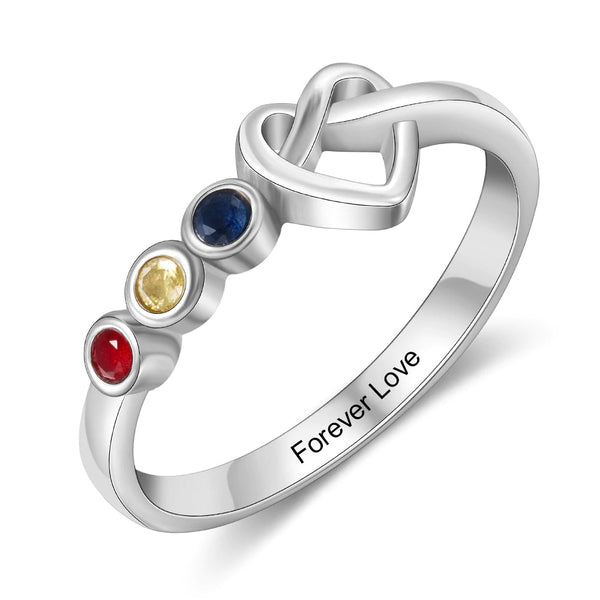 Personalized Heart Knot Birthstone Ring
