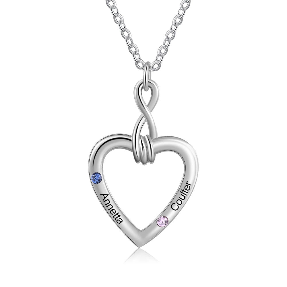 Personalized Heart Necklace with Couple Names