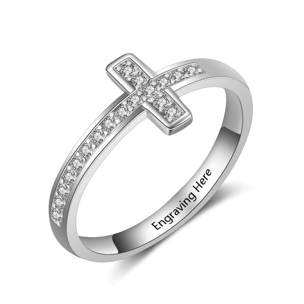 Personalized Sideways Cross Ring with CZ Stone Ring