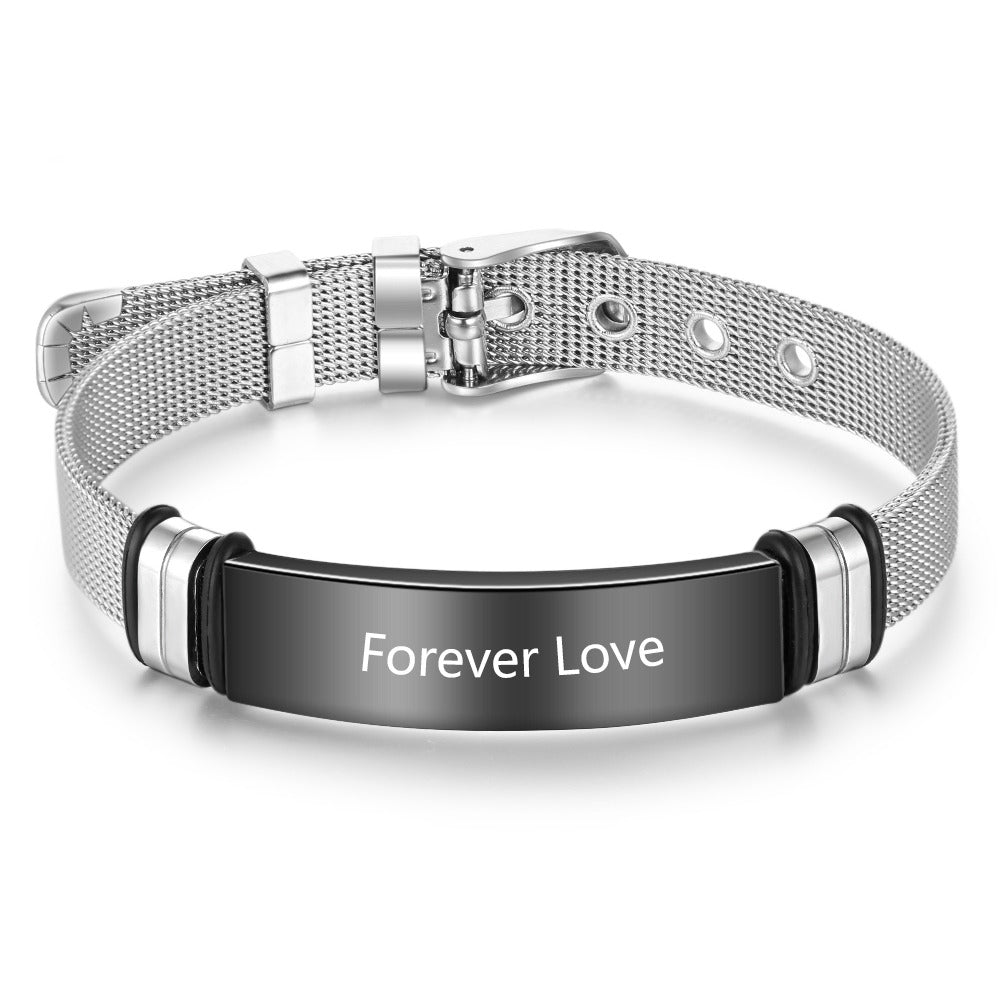Personalized Stainless Steel Bracelet with Engraving