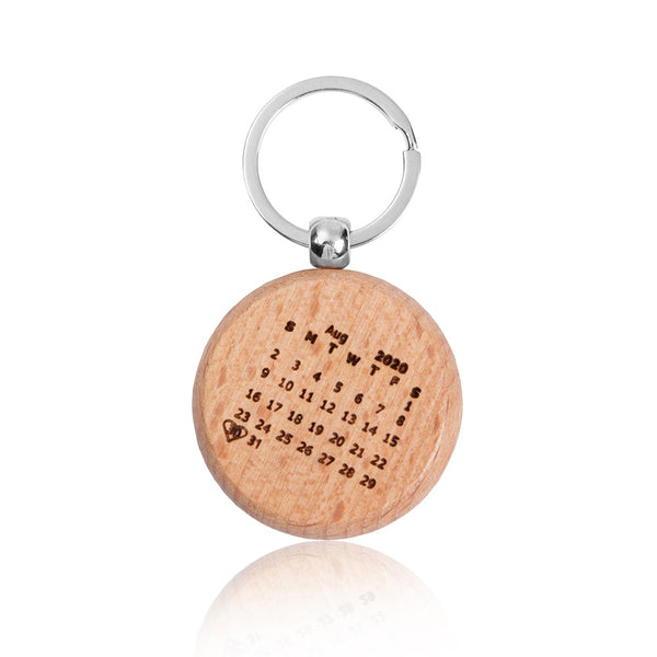 Personalized Wood Heart Date Keychain
